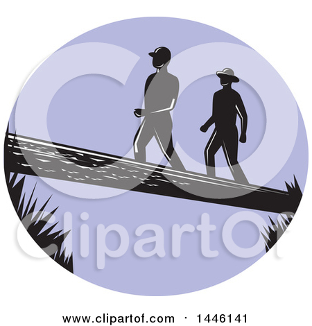 Clipart of a Purple Oval with Silhouetted Retro Woodcut Men Crossing a Log - Royalty Free Vector Illustration by patrimonio