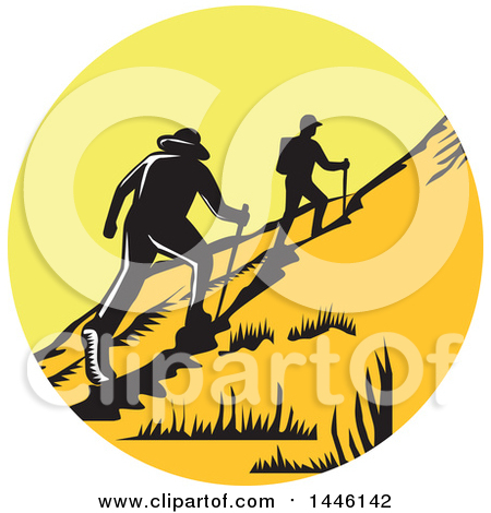 Clipart of a Retro Woodcut Scene of Hikers Climbing a Trail - Royalty Free Vector Illustration by patrimonio