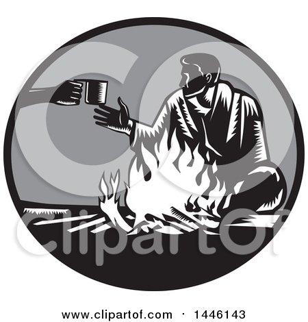 Clipart of a Retro Woodcut Man Accepting a Cup of Coffee by a Campfire - Royalty Free Vector Illustration by patrimonio