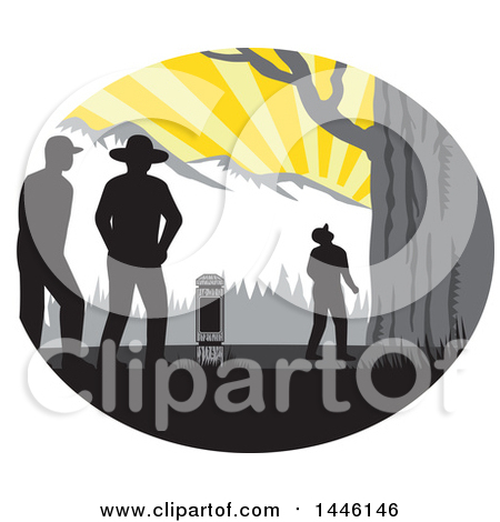 Clipart of a Retro Woodcut Hiker Looking up at a Giant Tree Against Mountains - Royalty Free Vector Illustration by patrimonio