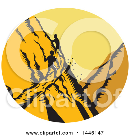 Clipart of a Retro Woodcut Scene of Male Hikers Climbing a Steep Narrow Mountain Trail - Royalty Free Vector Illustration by patrimonio
