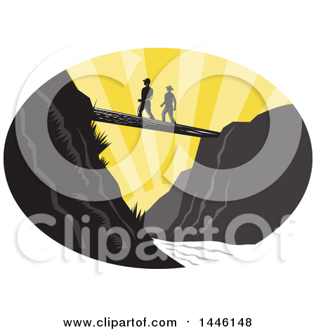 Clipart of a Retro Woodcut Scene of Hikers Crossing a Footbridge over a River at Sunset - Royalty Free Vector Illustration by patrimonio