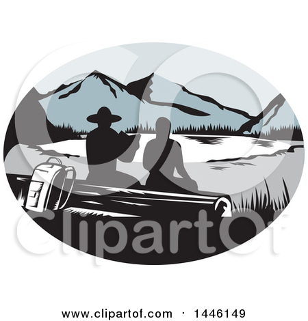 Retro Woodcut Scene of Silhouetted Hikers Sitting on a Log and Looking out at a Mountainous Lake or Pond Posters, Art Prints