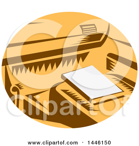Clipart of a Retro Woodcut Book on a Passenger Seat of a Car in a Brown White and Orange Oval - Royalty Free Vector Illustration by patrimonio