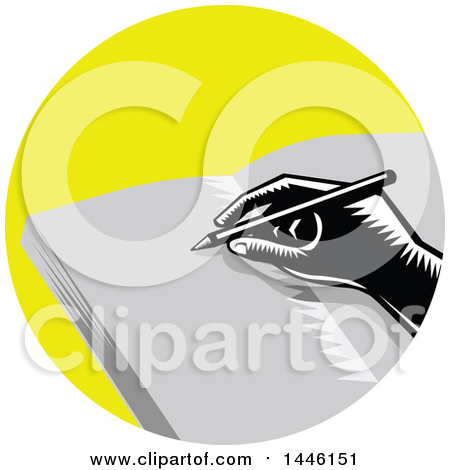 Clipart of a Retro Woodcut Hand Writing in a Journal in a Yellow Circle - Royalty Free Vector Illustration by patrimonio