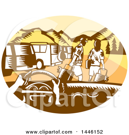 Clipart of a Retro Woodcut Point of View from a Driver in a Rental Car and Tourists in a Parking Lot - Royalty Free Vector Illustration by patrimonio