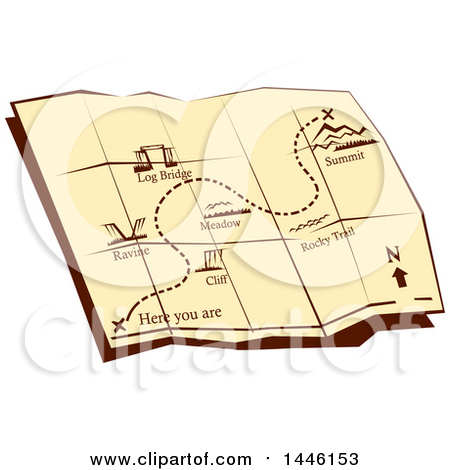 Clipart of a Retro Open Foldable Hiking Trail Map with an X at a Summit - Royalty Free Vector Illustration by patrimonio