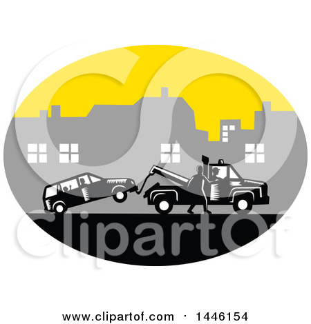 Clipart of a Retro Woodcut Man Towing a Car on a City Roadside - Royalty Free Vector Illustration by patrimonio