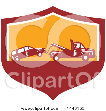 Clipart of a Retro Woodcut Tow Truck Driver Hauling a Car in a Red White and Orange Shield - Royalty Free Vector Illustration by patrimonio