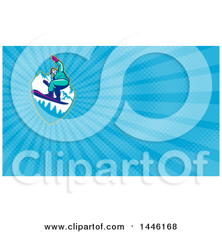Clipart of a Retro Snowboarder Catching Air over Mountains and Blue Rays Background or Business Card Design - Royalty Free Illustration by patrimonio