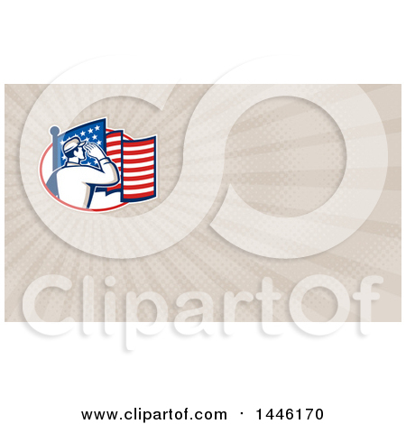 Clipart of a Retro Soldier Saluting in an Oval with an American Flag and Taupe Rays Background or Business Card Design - Royalty Free Illustration by patrimonio