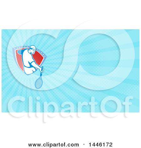Clipart of a Retro Male Tennis Player Emerging from a Stars and Stripes Shield and Blue Rays Background or Business Card Design - Royalty Free Illustration by patrimonio