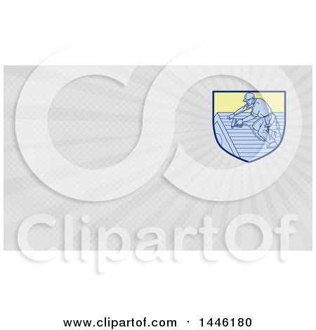 Clipart of a Mono Line Styled Roofer Using a Drill and Gray Rays Background or Business Card Design - Royalty Free Illustration by patrimonio