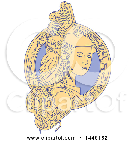 Clipart Of A Mono Line Styled Woman, Athena, with an Owl on Her Shoulder in a Circuit Frame - Royalty Free Vector Illustration by patrimonio