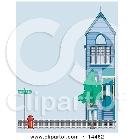 Fire Hydrant by a Fence and Home on Main Street Posters, Art Prints