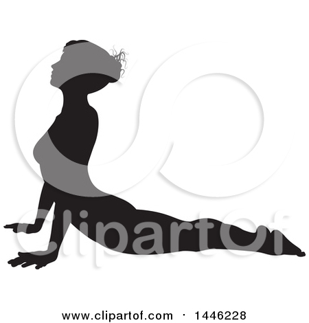 Clipart of a Black Silhouetted Woman in a Yoga Pose - Royalty Free Vector Illustration by AtStockIllustration