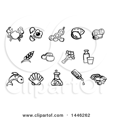 Clipart of Black and White Watercolor Styled Food Safety Allergy Icons - Royalty Free Vector Illustration by AtStockIllustration
