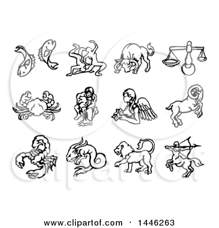 Clipart of Black and White Watercolor Styled Zodiac Astrology Horoscope Sign Icons - Royalty Free Vector Illustration by AtStockIllustration