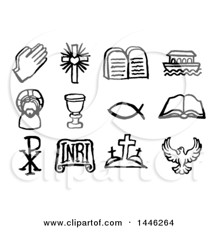 Clipart of Black and White Watercolor Styled Christian Symbol Icons - Royalty Free Vector Illustration by AtStockIllustration