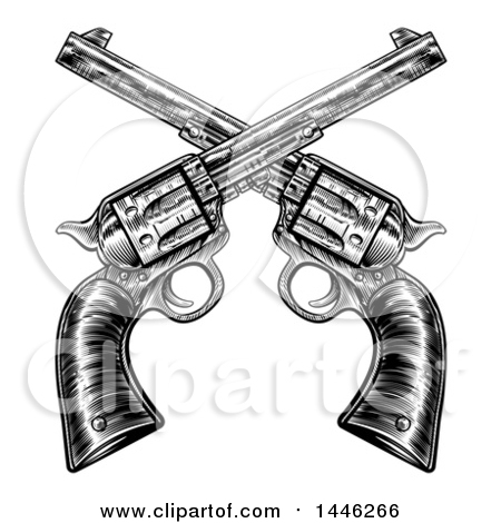 Clipart of a Black and White Woodcut Etched or Engraved Crossed Vintage Revolver Pistols - Royalty Free Vector Illustration by AtStockIllustration