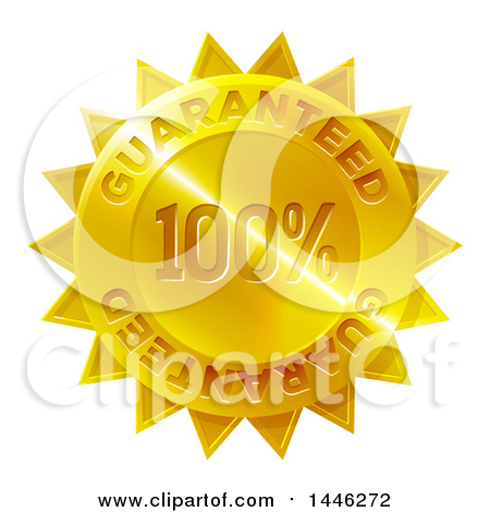 Clipart of a Shiny Gradient Golden Star Shaped 100 Percent Guaranteed Metal Award Badge - Royalty Free Vector Illustration by AtStockIllustration