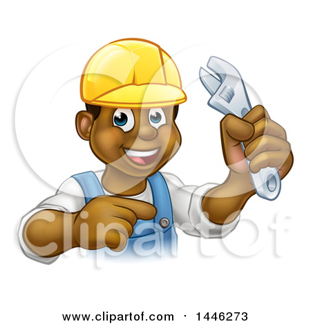 Cartoon Happy Black Male Plumber Holding an Adjustable Wrench and Pointing Posters, Art Prints