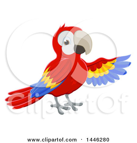 Clipart of a Scarlet Macaw Parrot Presenting with a Wing - Royalty Free Vector Illustration by AtStockIllustration