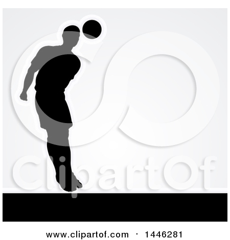 Clipart of a Black Silhouetted Male Soccer Player Heading a Ball, with Shading, over Gray - Royalty Free Vector Illustration by AtStockIllustration