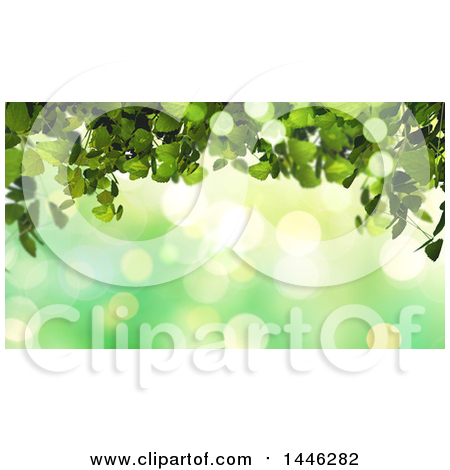 Clipart of a Background of Green Bokeh Flares and Ivy - Royalty Free Illustration by KJ Pargeter