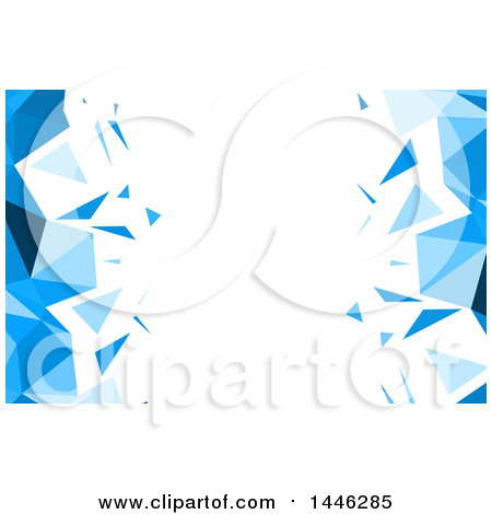 Clipart of a Background or Business Card Design of Blue and White Low Poly Geometric Sides - Royalty Free Vector Illustration by KJ Pargeter
