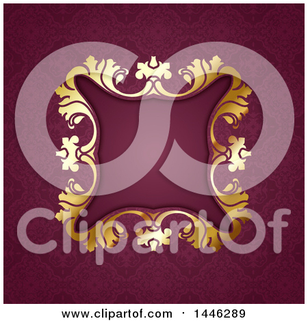 Clipart of a Golden Ornate Floral Frame over Damask - Royalty Free Vector Illustration by KJ Pargeter