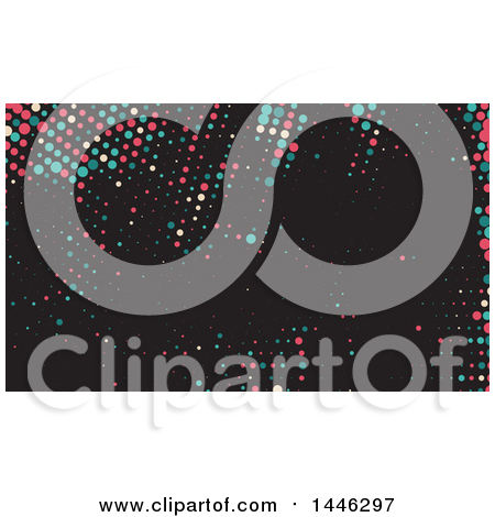 Clipart of a Colorful Dots on Black Background or Business Card Design - Royalty Free Vector Illustration by KJ Pargeter