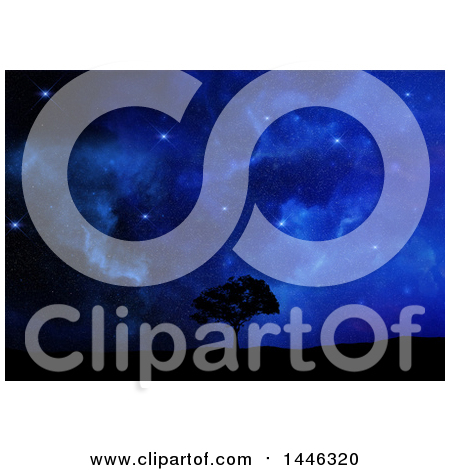 Clipart of a Gorgeous Starry Blue Night Sky over a 3d Silhouetted Tree and Grass - Royalty Free Illustration by KJ Pargeter