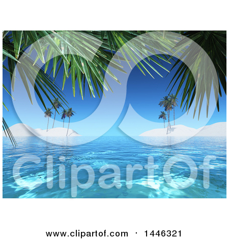 Clipart of a 3d Tropical Background of White Sand Islands and Palm Trees - Royalty Free Illustration by KJ Pargeter