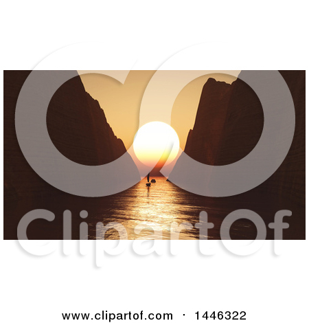 Clipart of a Silhoeutted Yacht in a Bay, Between Tall Cliffs, and 3d Orange Ocean Sunset - Royalty Free Illustration by KJ Pargeter