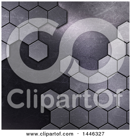 Clipart of a Background of Metal Hexagons - Royalty Free Illustration by KJ Pargeter