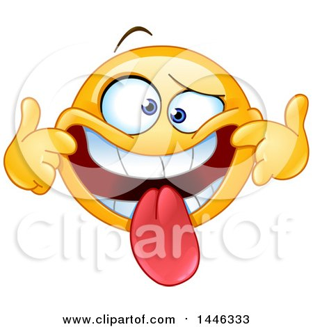 Clipart Of A Cartoon Silly Yellow Emoji Smiley Face Emoticon Pulling His Lips Back And Sticking His Tongue Out To Make A Funny Face Royalty Free Vector Illustration