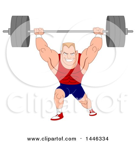 Clipart of a Cartoon Muscular Blond White Male Bodybuilder Doing Lunges with a Barbell - Royalty Free Vector Illustration by yayayoyo
