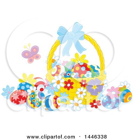 Clipart of a Basket with Colorfully Easter Eggs and a Butterfly - Royalty Free Vector Illustration by Alex Bannykh