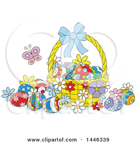 Clipart of a Cartoon Basket with Colorfully Decorated Easter Eggs and a Butterfly - Royalty Free Vector Illustration by Alex Bannykh