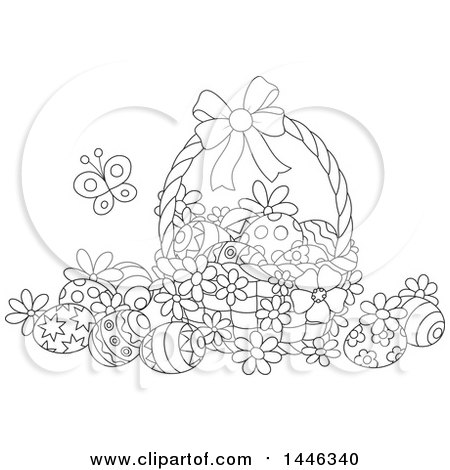 Clipart of a Cartoon Black and White Lineart Basket with Decorated Easter Eggs and a Butterfly - Royalty Free Vector Illustration by Alex Bannykh