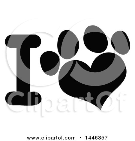 Clipart of a Black and White Letter I and Heart Shaped Dog or Cat Paw Print - Royalty Free Vector Illustration by Hit Toon