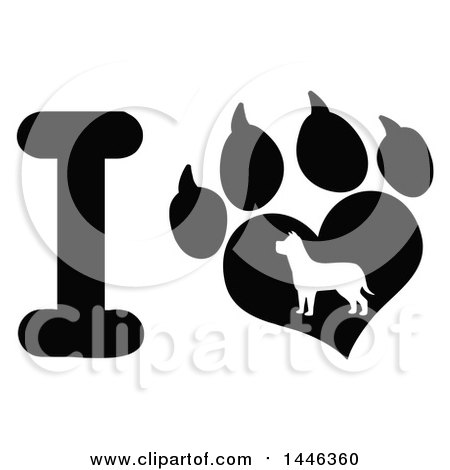 Clipart of a Black and White Letter I and Heart Shaped Paw Print with a Silhouetted Dog - Royalty Free Vector Illustration by Hit Toon