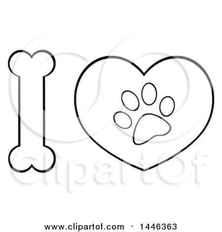 Clipart of a Black and White Lineart Bone Letter I and Heart with a Dog Paw Print - Royalty Free Vector Illustration by Hit Toon