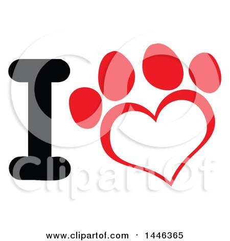 Clipart of a Letter I and Red Heart Shaped Dog or Cat Paw Print - Royalty Free Vector Illustration by Hit Toon