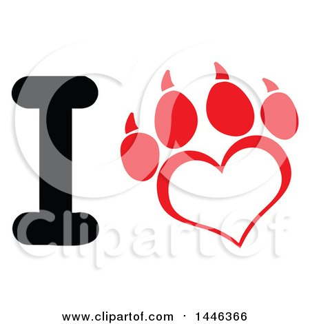 Clipart of a Letter I and Heart Shaped Dog Paw Print - Royalty Free Vector Illustration by Hit Toon