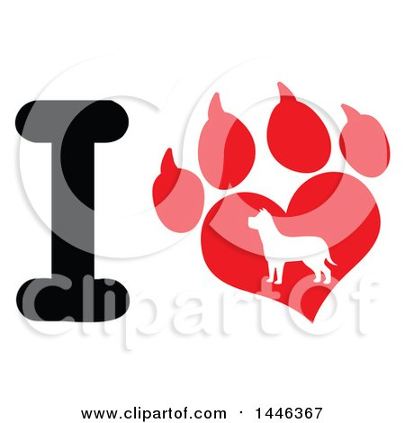 Clipart of a Letter I and Heart Shaped Paw Print with a Silhouetted Dog - Royalty Free Vector Illustration by Hit Toon