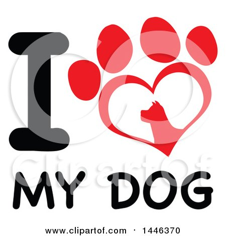 Clipart of a Letter I and Heart Shaped Dog Paw Print over Text, I Love My Dog| Royalty Free Vector Illustration by Hit Toon