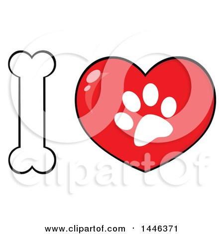 Clipart of a Bone Letter I and Heart with a Dog Paw Print - Royalty Free Vector Illustration by Hit Toon