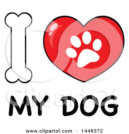 Clipart of a Dog Bone Letter I and Heart Shaped Paw Print Meaning I Love My Dog - Royalty Free Vector Illustration by Hit Toon